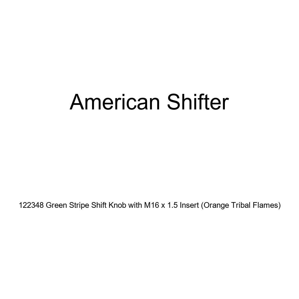American Shifter 122348 Green Stripe Shift Knob with M16 x 1.5 Insert Orange Tribal Flames