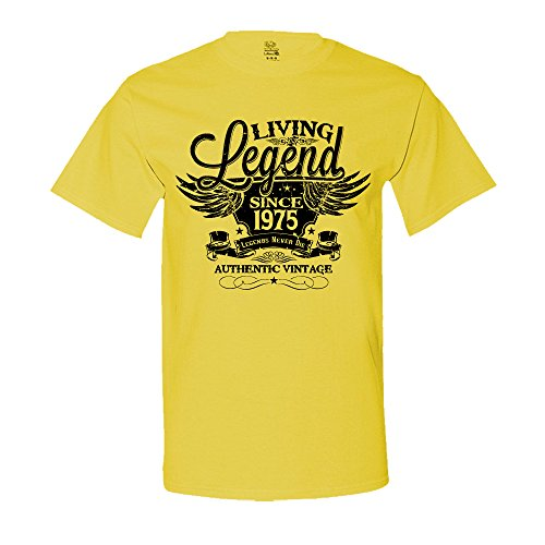 The Shirt Den Living Legend Since 1975 42nd Birthday Gift T-Shirt Vintage turning 42 T-Shirt X-Large Yellow