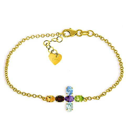 ALARRI 1.68 CTW 14K Solid Gold Cross Bracelet Natural Multi Gemstones Size 8.5 Inch Length by ALARRI