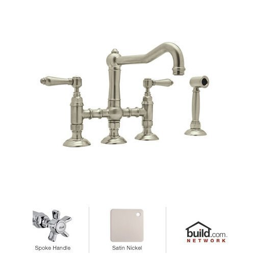 Rohl A1458XWSSTN-2 Country Kitchen Three Leg Bridge Faucet with Five Spoke Handles Sidespray and 9-Inch Reach Column Spout in Satin ()