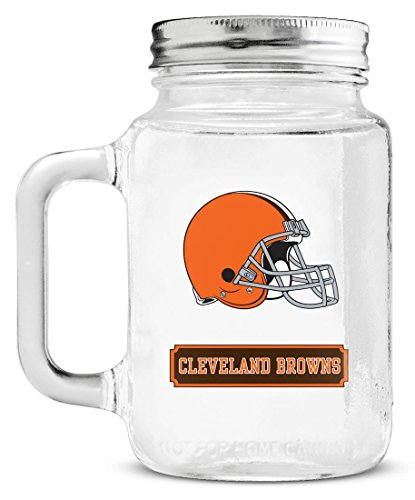 (NFL Cleveland Browns 20oz Glass Mason Jar)