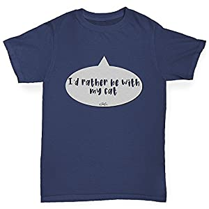 TWISTED ENVY Kids Funny Tshirts I'd Rather Be With My Cat Girl's T-Shirt Age 9-11 Navy