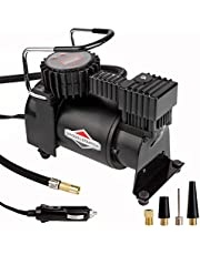 BriggsStratton Tire Inflator BS-IN210DC 12V DC Car Tire Pump with Digital LCD Display,Portable Air Compressor Pump Built-In Tire Pressure Gauge,35L/M 120 PSI Air Pump w/Extra Nozzle Adaptor for Ball