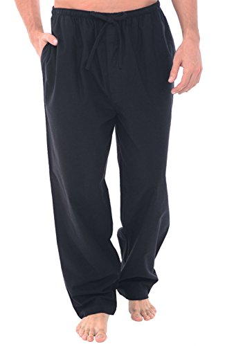 (Alexander Del Rossa Men's Lightweight Flannel Pajama Pants, Long Cotton Pj Bottoms, Large Black (A0705BLKLG) )