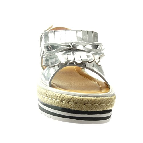alpargatas Plata CM de de patentes plataforma Sandalias Plataforma zapatillas Talón fleco Angkorly Zapatillas Moda mujer nodo 5 xa5wYqUIZ
