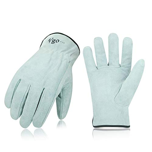 Vgo 3Pairs Unlined Cowhide Split Leather Work and Driver Gloves for Heavy Duty, Truck Driving, Warehouse, Gardening, Farm (Size L, White,CB9501) ()