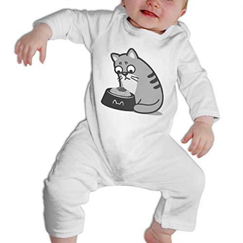 QIZI Soft,Comfortable,Breathable,100% Cotton Baby Boys & Girls Bodysuit Cat Eating Noodles Ramen I Am Unhappy Jumpsuit Onesies Long Sleeve