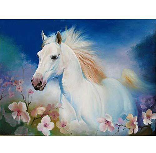 BAIYUDE Diamant malerei kreuzstichweißes Pferd voller diamantenStickerei Tiere Muster Diamant runde Strass Handarbeit 45x60 cm