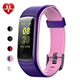 Fitness Tracker,YAMAY Fitness Watch Heart Rate Monitor Activity Tracker,Color Screen Dual-Color Bands IP68 Waterproof,with Step Counter Sleep Monitor 14 Sports Tracking for Women Men Kid (Purple-Pink)