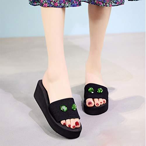 5 Vert Compensée Chaussures Femme Hautes Plate 36 Été 5 Sandales Chausson 7cm Femmes 40 Tongs De Osyard Plage 5 Plateforme 5 3 qCFwxHWRI