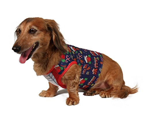 Festive Pet Ugly Christmas Sweater Pullover for Female Dogs - Cute Doggie Xmas Cardigan with Pearl Necklace Print, Santa, Gingerbread and Candy Printed Design - Size Medium