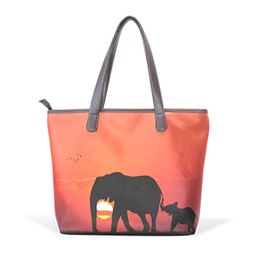COOSUN Elefante con el bebé grandes bolsas de cuero de la manija de la PU Bolsa de hombro bolsa de asas M (40x29x9) cm Multicolor # 003