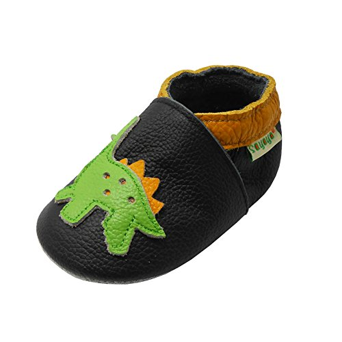 Sayoyo Baby Dinosaurs Soft Sole Leather Infant and Toddler Shoes (Black,12-18 Months) ()