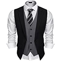 Coofandy Mens Formal Fashion Layered Vest Waistcoat Dress Vest
