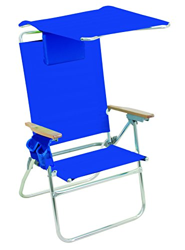 Rio Brands Hi Boy Beach Chair With Canopy Pacific Blue