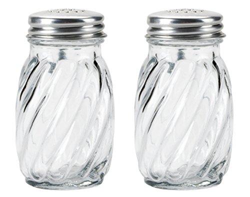 Kangaroo's Glass Swirl Salt & Pepper Shaker with Lids, 3¼ oz. (Set of (Glass Salt Pepper Shakers)
