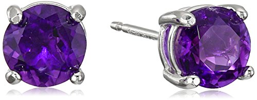 Rhodium Plated Sterling Silver Genuine African Amethyst 6mm Round February Birthstone Stud Earrings