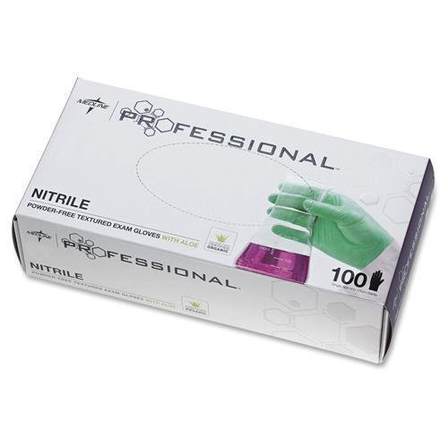 Price comparison product image PRO31764 Medline Professional Nitrile Exam Gloves with Aloe - X-Large Size - Beaded Cuff, Latex-free, Powder-free, Non-sterile, Textured - Nitrile - 100 / Box - Green