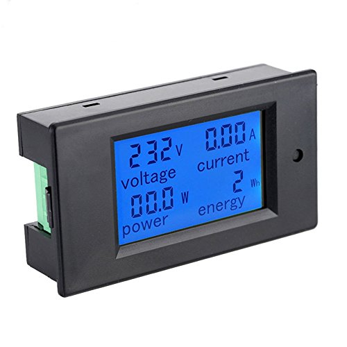 NCElec AC 80-260V 20A Blue Backlit Digital Current Voltage Power Energy Meter Multimeter Ammeter Voltmeter with Built-in Current Shunt