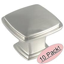 "Cosmas® 4391SN Satin Nickel Modern Cabinet Hardware Knob - 1-1/4"" Inch Square - 10 Pack"