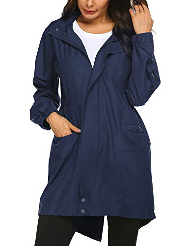 Doreyi Women Climbing Jackets Windbreaker Travel Jacket for Women Outdoor Hiking Camping Casual Long Jackets Navy Blue