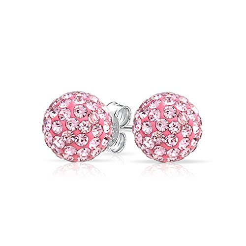 - Round Simple Basic Light Pink Pave Crystal Disco Ball Stud Earrings Women For Teen 925 Sterling Silver 8MM