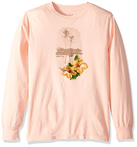 (Roxy Girls' Big Palm Vintage Long Sleeve T-Shirt, Salmon 10/M)
