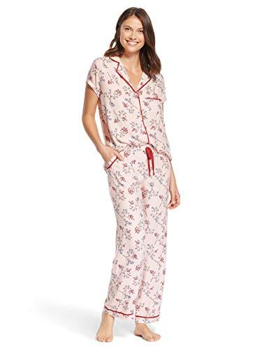 (Kathy Ireland Womens Short Sleeve Pajama Shirt Elastic Waist Pockets Pants Set Rose Smoke Large)