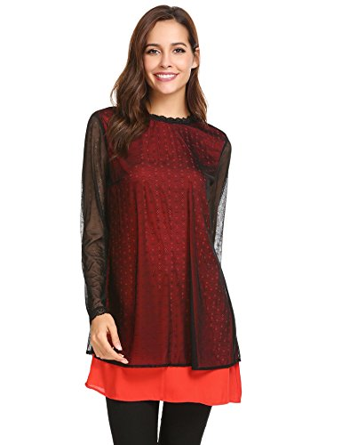 Lining Contrast (Zeagoo Women's Floral Lace Mock Neck Top Chiffon Contrast Lining Flowy Blouse Top Red X-Large)