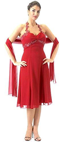 Brautjungfernkleid Abiballkleid Stil Lerche Brautkleid kurz Kleid Rot Abschlussball Abendkleid Chiffon Cocktailkleid Empire Nachtigall qw0OxH8x6