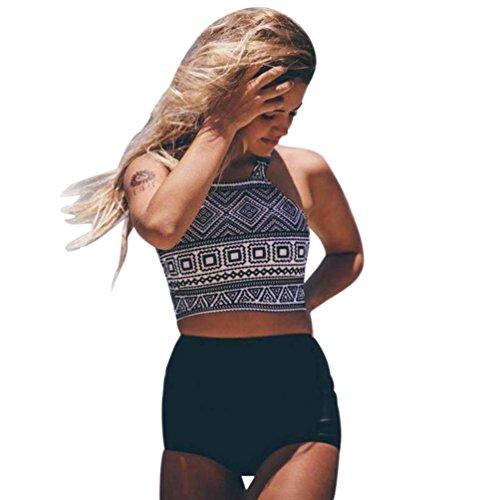 One Top Swimsuit Halter Piece (Fanteecy Women Boho Geometric Print Swimsuits Retro Chic Swimwear Tankinis Halter Crop Top High Waisted Bottoms 2 Pcs (S, Black))