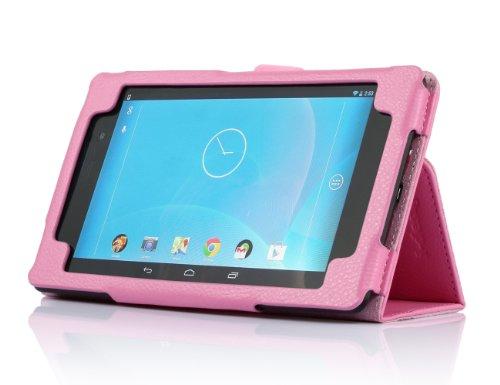 i-design Nexus 7 FHD Premium Leather Case with Flip Stand, Stylus Loop and Wake/Sleep Function (Nexus 7 FHD (2013), Pink)