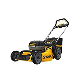 DEWALT DCMW220P2 2X20V Dw Lawn Mower 33 Powerful Brushless motor and (2) 20V MAX batteries working simultaneously for high power output 3-in-1: mulching, bagging, and rear discharging Heavy-duty 20 in. metal deck