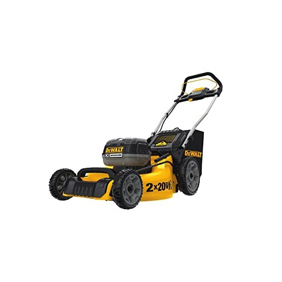 Dewalt 20v max lawn mower, 3-in-1, 2 batteries (dcmw220p2) 1 push mower comes with powerful brushless motor and (2) 20v max* batteries working simultaneously for high power output. 3-in-1 push lawn mower for mulching, bagging and side discharging battery lawn mower has heavy-duty 20-inch metal deck