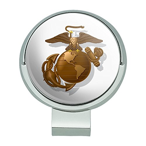 GRAPHICS & MORE Marines USMC Golden Logo on White Eagle Globe Anchor Officially Licensed Golf Hat Clip with Magnetic Ball Marker