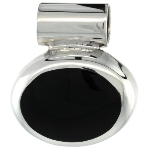 Sterling Silver Black Obsidian Stone Slide Pendant Oval Shape, 1 inch wide, (Sterling Oval Silver Slide)