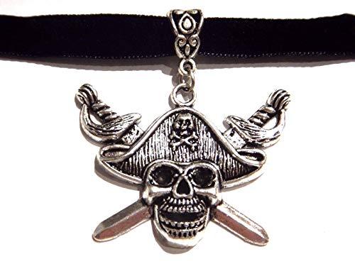 Handmade Jolly Roger Pirate Skull & Crossed Swords Pendant on Black Velvet Choker Necklace