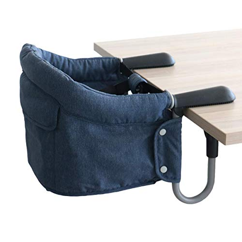 Fast Hook On Table Chair,Tight Fixing Clip on Baby or Toddler High Chair,Kids Removable Seat Portable Foldable Dining Table Chairs (Blue)