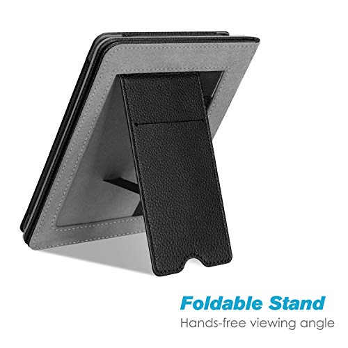 Fintie Stand Case for Kindle Paperwhite (Fits All-New 10th Generation 2018 / All Paperwhite Generations) - Premium PU Leather Protective Sleeve Cover with Card Slot and Hand Strap, Black