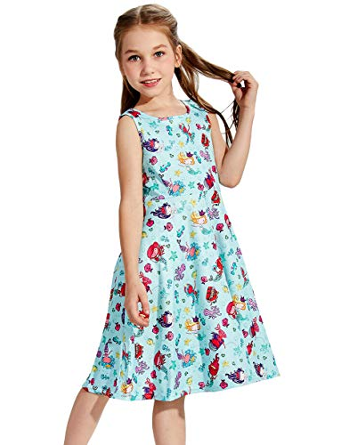 Little Girls Mermaid Dress for 6t 7t Elf Angle Daughter's 3D Printed Green Solid Twirl One-Piece Dress for School Student Children Casual Hawaii Holiday Wedding Party Basic Style Shirt Skirt Size 6 7
