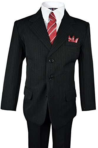 Boys Pinstripe Suit with Matching Tie Size 2-20 (18, Black)