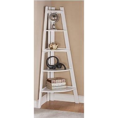 White Finish 5 Tier Corner Display Unit Shelf / Rack F04040