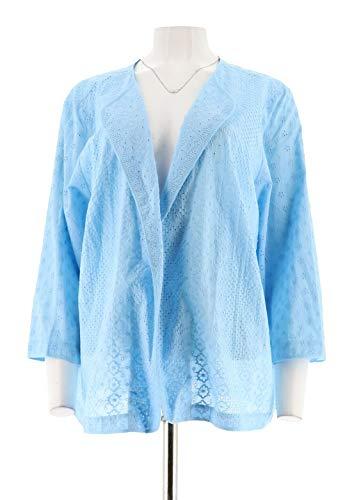 Joan Rivers Mixed Pattern Eyelet Jacket 3/4 SLVS Sky Blue 18W New A291168