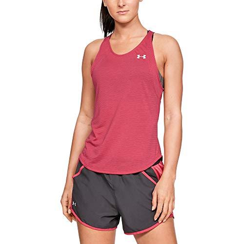 Back Slit Shorts - Under Armour Women's Streaker 2.0 Slit Back Tank, Impulse Pink//Reflective, X-Small