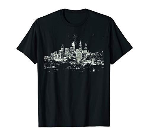 (Philadelphia Skyline Night Philly Shirt Black White City)