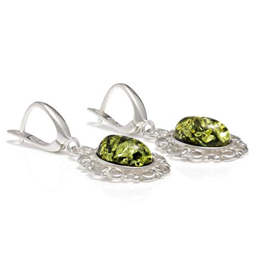 925 Sterling Silver Filigree Leverback Dangle Earrings with Genuine Natural Baltic Green Amber.