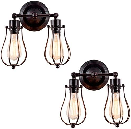 Industrial Wall Sconce 2-Pack Luling Rustic Loft Antique Wall Lights Wire Cage Adjustable Socket Edison Vintage Metal Retro Lamp Fixtures