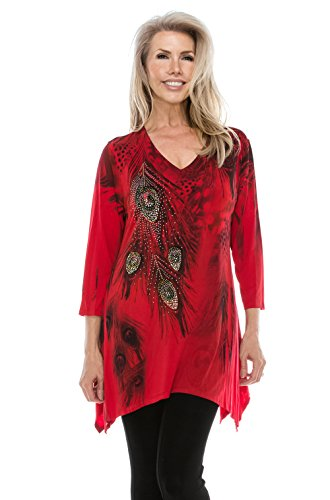 Sublimation V-neck Top - Jostar Women's HIT V-Neck Binding Top 3/4 Sleeve Sublimation Rhinestones Medium Red Feather
