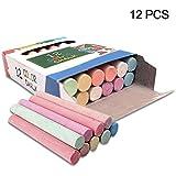Heyean Chalk Sticks Chalkboard Sticks Mixed Colour White Non-Toxic for Kids Playground School Art Learning (12pcs)