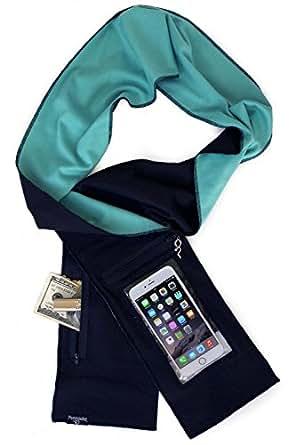 Peepsnake Smartphone Scarf for TALLER Phones- Touch Pocket- Back Camera Window- Black Aqua